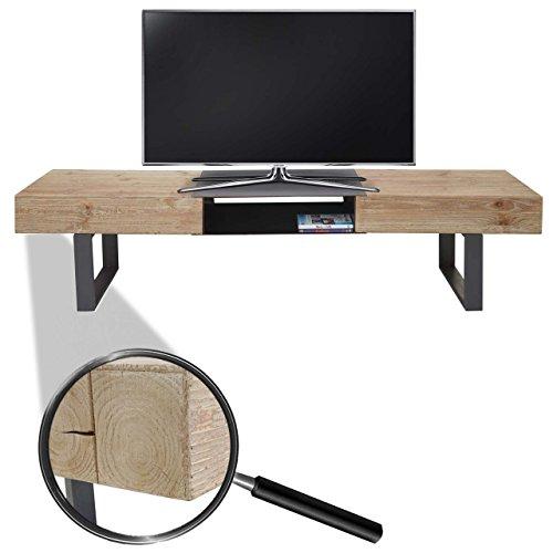 Mendler TV-Rack HWC-A15, Fernsehtisch, Tanne Holz rustikal Massiv 46x180x41cm (Holz-tv Rustikale)