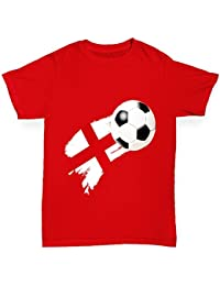 TWISTED ENVY England Football Flag Paint Splat Boy's Printed Cotton T-Shirt, Comfortable and Soft Classic Tee with Unique Design
