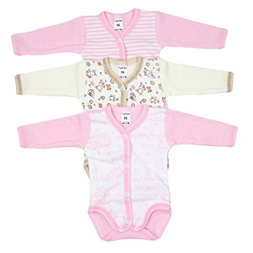 3er Set Langarmbody Baby Wickelbody Langarm Babybody Aufknöpfbar 100% Baumwolle Mädchen Body Jungen, Farbe: Mädchen, Größe: 74