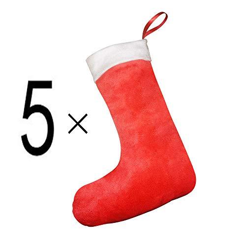 5 X Kurzer Plüsch Weihnachtsstrümpfe Nikolaussocken Nikolausstrumpf Weihnachts Socken Weihnachten Deko Weihnachtsdeko Santa Nikolaus Socke Strumpf Geschenkbeutel hängende Dekoration Weihnachts Zubehör