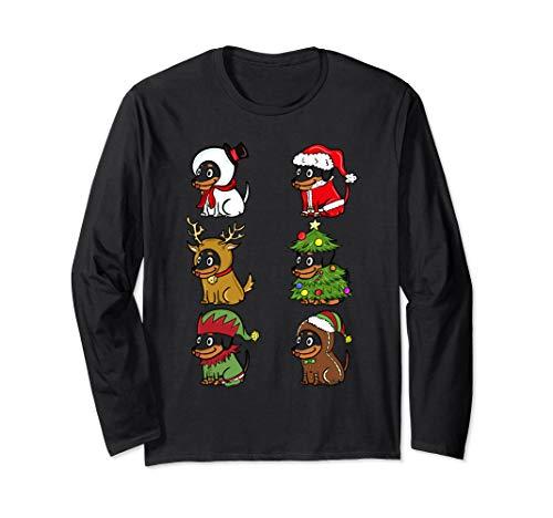 Dackel Xmas Kostüme Lustiger Hund Weihnachten Geschenk  Langarmshirt (Dackel Weihnachten Kostüm)