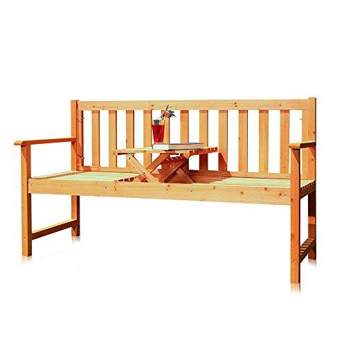 Melko® Gartenbank mit integriertem Klapptisch, 152,5 x 90 x 56 cm, braun, Parkbank Sitzgarnitur Tablett Tisch