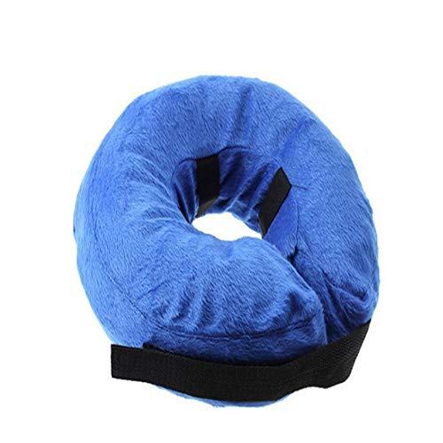 ustierhalsband für große Hunde, Bequemer Haustierhalsband-Kegel zur Genesung, Aufblasbares Basishalsband für Hunde, blau, S ()