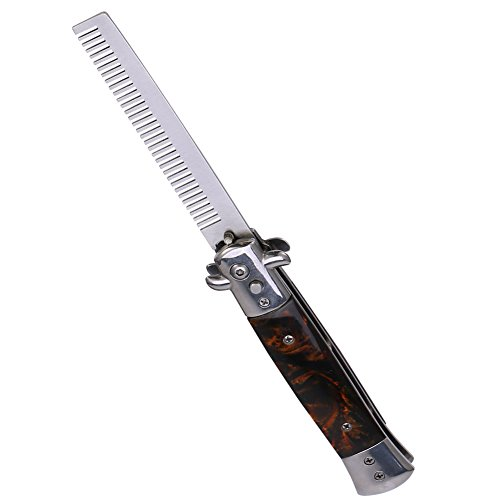 Switchblade Spring Folding Knife Push Button Pocket Comb Oil Hair Styling(02) -