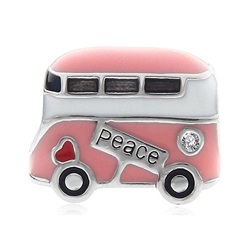 Pink peace bus charm in argento sterling 925travel charm love anniversary charm per braccialetti pandora