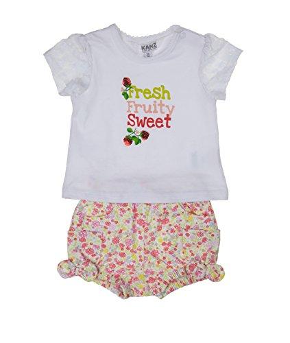 Kanz Baby - Mädchen Bekleidungsset 1/4 Arm + Shorts, Geblümt, Gr. 86, Rot (allover|multicolored 0003)