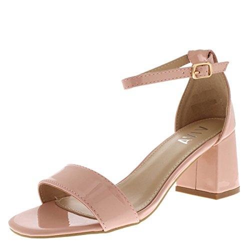 Damen Sandale Ausgeschnitten Blockabsatz Offener Zeh Kaum Da Fesselriemen Fersen - Rosa Patent KL0295C 3UK/36 (Ausgeschnitten Patent)