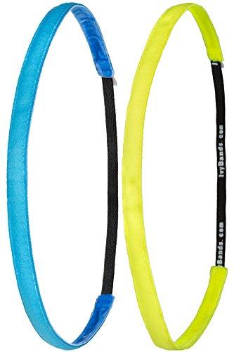 Ivybands ® - Das Anti-Rutsch Haarband | 2-er Pack | NEU | Neon Blau, Neon Gelb Super Thin | (1 cm Breite) | IVY005 IVY016