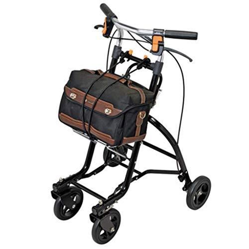 ZXL Standardwanderer \\u0026 Gehhilfen Walker Tragbarer Einkaufswagen für ältere Menschen Ältere können auf einem Wagen sitzen Faltbarer Einkaufswagen für Behinderte Rehabilitation (Farbe: Schwar