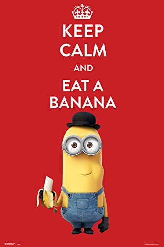 Póster Minions Keep Calm And Eat A Banana, 61 x 91,5 cm