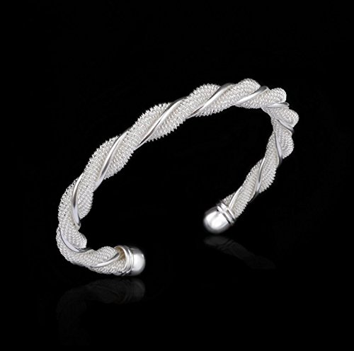 New Fashion Jewelry Classic Knot 925 New Gift Women Lady solid Silver Bracelet Bangle