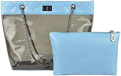 Zicac Candy Color Retro Estilo de moda cierre correa de cadena transparente Bolso con una bolsa