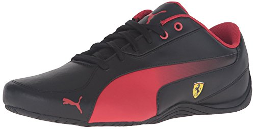 Puma Men's Drift Cat 5 Ferrari Leather Sneaker, Schwarz/Rosso Corsa, 41 D(M) EU/7.5 D(M) UK (Ferrari Cat Puma Drift)