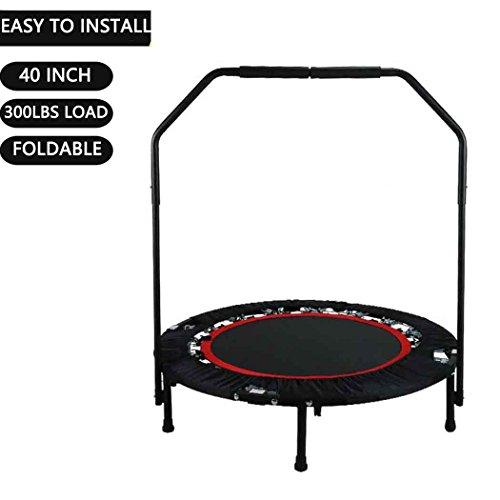 Buano Tragbare Faltbare Eignungs-Trainings-Mini Rebounder-Trampoline 40 Zoll-maximale Last 300lbs mit justierbarem Handlauf für Innengarten-Trainings-Cardio-Übung (Rot1)