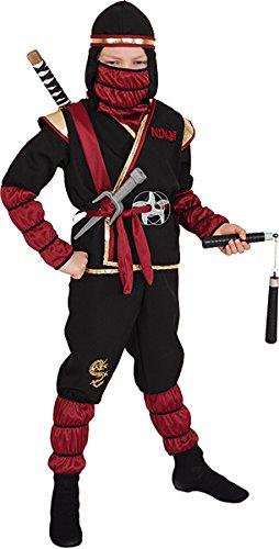 Ninja Kostüm, rot-gold-schwarz - Größe: 104/116 - 152/164 (128/134) (Rote Und Schwarze Ninja Kostüm)