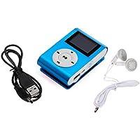 zolimx Mini USB Clip Reproductor de MP3 Pantalla LCD de 32GB Micro SD TF Tarjeta Con Auricular y Cable de Datos (Azul)