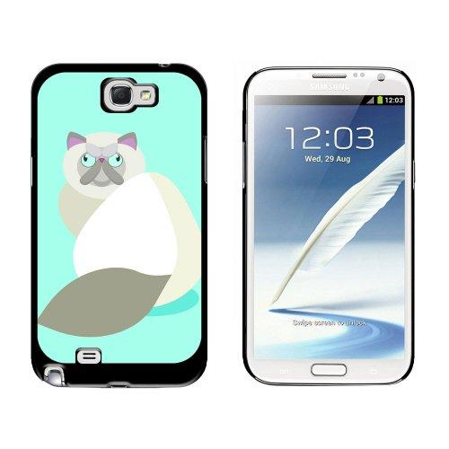 Geometrische Himalaya-Persischen Siamesische Katze Snap-on Hartschalen-Schutzhülle für Samsung Galaxy Note II 2–Schwarz (Himalaya-katze Schwarz)