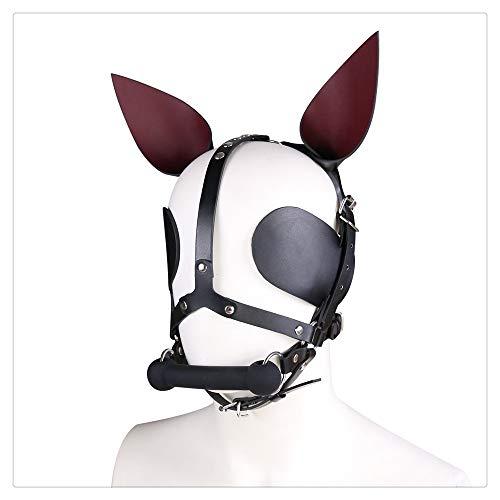 Z-one 1 Hunde-Maske aus Leder, Tier-Vollgesichtsmaske mit Welpen, Keksspielzeug, Mundball, Halloween-Kostüm für Damen und Herren, Schwarz