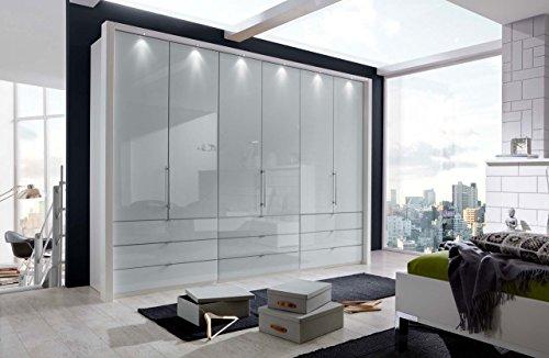 Kleiderschrank, Schlafzimmerschrank, Wäscheschrank, Drehtürenschrank, Schrank, 6-türig, alpinweiß, weiß, Glasfront