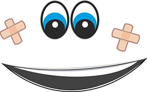 2x Augen Aufkleber für Saugroboter, Mähroboter Wischroboter Thermomix Sticker Set Roboter (Mund, Pflaster Augen Blau)