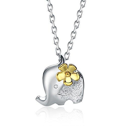 Cara Z® London – Cordón de plata de ley bonito collar de cadena de elefante de animal con colgante de oro y hermosa flor