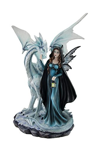 sitzend weiß Snow Dragon & Blau Dark Night Fairy Statue Laterne 18 in. (White Pixie Flügel)