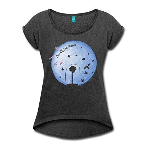 Spreadshirt Kleine Prinz Planet Erde Und Die Rose Frauen T-Shirt mit gerollten Ärmeln, L, Schwarz meliert (Erde-mädchen T-shirt)