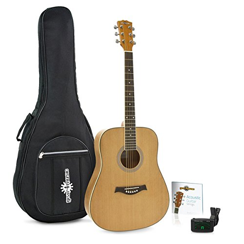 Dreadnought Acoustic Guitar by Gear4music + Accessory Pack (Dreadnought Acoustic Gitarre Pack)