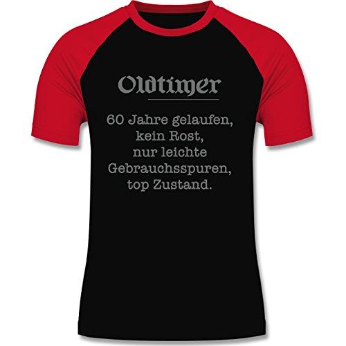 Geburtstag - 60. Geburtstag Oldtimer Fun Geschenk - zweifarbiges Baseballshirt für Männer Schwarz/Rot