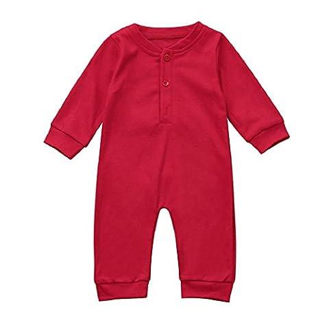 Toddler-Overall-Ausstattungen, DBHAWKinEU neugeborene Baby-Jungen Mädchen-Weihnachtsspielanzug-Kleidung (6M~9M, Rot)