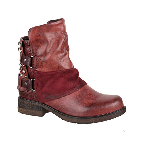 Elara Damen Stiefeletten   Bequeme Biker Boots   Metallic Print Nieten   Chunkyryan 5740 ()