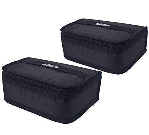 Mier lunch box bag food storage raffreddamento borse termiche kit da viaggio per le donne e gli uomini, set di 2(2pc nero)