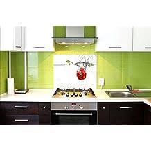 Pantalla antisalpicaduras de cristal / Panel de vidrio templado para cocina, 75 x 60 cm, motivo de Pimiento, UltraClear ® Glass