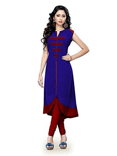 Nine Street Store Women's Cotton Silk Kurti (Kurtis, Royal Blue, Free Size)