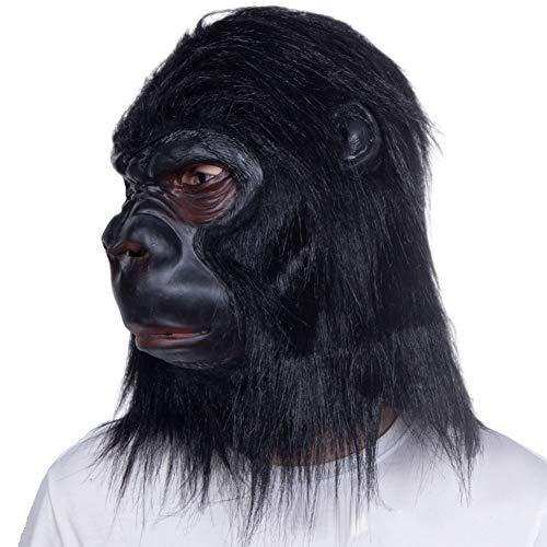Halloween Gorilla Latex Maske Full Cover Tier Kopfbedeckung Halloween Horror Auftritt Kostüm Cosplay Festival Party Events Requisiten,Schwarz (Zombie Schimpansen Kind Kostüm)