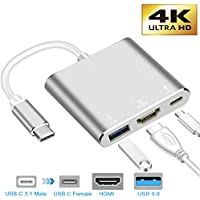 neefeaer Adaptador USB C a HDMI, Hub Tipo C USB 3.1 a HDMI 4K / USB 3.0 / USB C Compatible con MacBook Air 2018 Galaxy Note8 / S8 + / S9