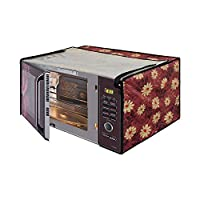 Glassiano Floral Red Printed Microwave Oven Cover for Bajaj MTBX 2016 20 Litre Grill Microwave Oven Black