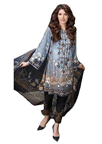 Madeesh Pakistani Suit for Women, Self Embroidery Top in Pure Cotton, Semi Lawn Embroidery Bottom, Printed Chiffon Dupatta, Pakistani Style Designer Salwar Kameez for Girls/Women  available at amazon for Rs.1699