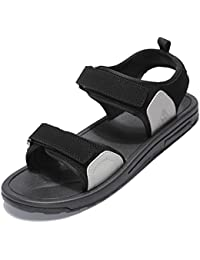 8beec03b840 MAZHONG Zapatillas Sandalias para hombre Promenade Shoes Sandalias de verano  Sand Beach Velcro Ajustable cerrado Flat