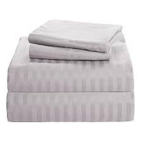 British Choice Linen Egyptian Cotton 600-Thread-Count Sateen Double/Small Double Size 3 PCs Set (1 Duvet Cover Zipper Closer & 2 Pillow Cover), Light Grey
