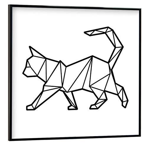 artboxONE Poster mit schwarzem Rahmen 30x30 cm Katze Tiere Geometrische Katze - Bild Geometrische Katze