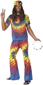 Smiffys Top tie dye y pantalones de campana de los 60, multicolor , Modelos/colores Surtidos, 1 Unidad