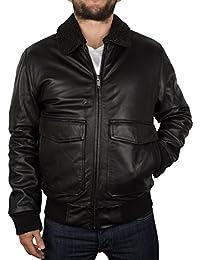 Levis Hombre Leather Flight Jacket, Negro
