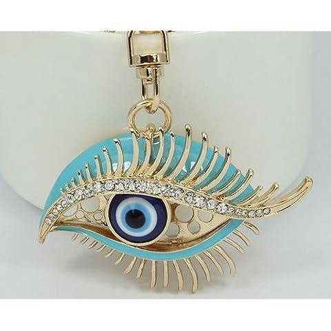 Único Punk esmalte de mal de ojo Keychains Llavero de la moda rhinestone animales metal Key Chain Mujeres Monedero Charm bolso colgante joyería
