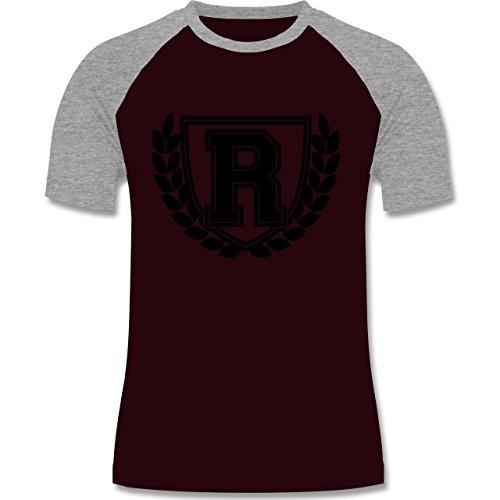 Anfangsbuchstaben - R Collegestyle - zweifarbiges Baseballshirt für Männer Burgundrot/Grau meliert