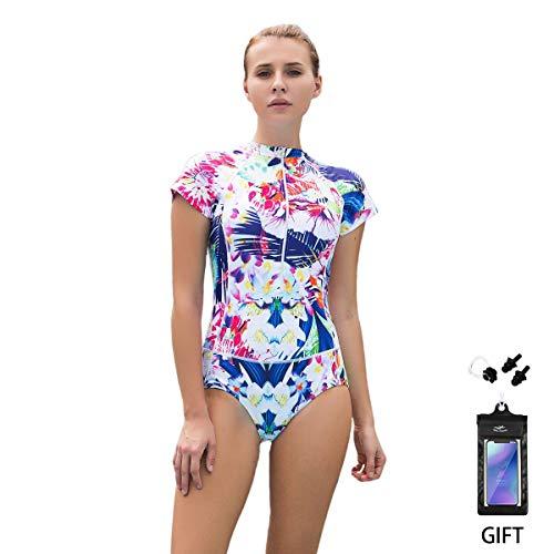 FOCLASSY Bikini Badeanzug Damen Einteiler Bikini Badeanzug Langarm Mode Flower Bedruckt Plus Size Reißverschluss vorne Push Up Bademode mit Chest Pad -10122 (Weiß Kurz, L/EU 36-38) (Kostüm Größe Plus Besten Am)