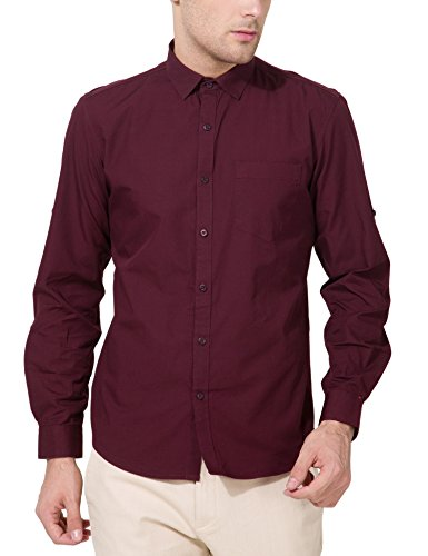 Highlander Men's Casual Shirt (13110001456059_HLSH008840_Large_Coffee)  available at amazon for Rs.399