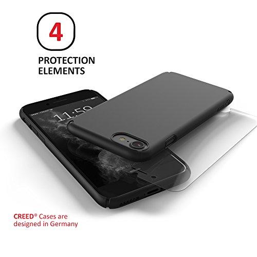 CREED Essence custodia per iPhone 8 / 7 – Case ultra sottile per smartphone – Angoli flessibili [Easy Fit] Display Protection Overlap – Cover per iPhone 8 / 7 in nero [CR01001 Deep Black] Essence Pro - Deep Black