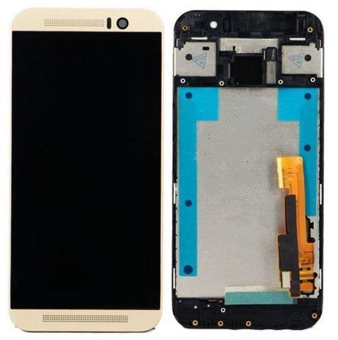 HTC One M9 Ersatz Display kompatibles LCD Touchscreen Digitizer Bildschirm Scheibe Glas Rahmen Frame Gold + Werkzeug (Htc Digitizer Ersatz Bildschirm)