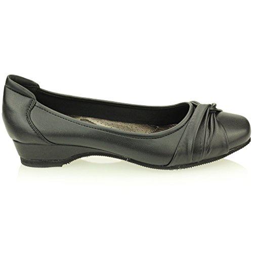 Femmes Dames Soir Casual Confort compensé Talon Pompes Ballerina Taille Chaussures (Noir, Marron) Noir